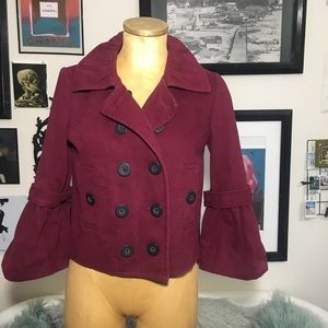 Jackets & Blazers - Burgundy jacket with flutter sleeves size xs